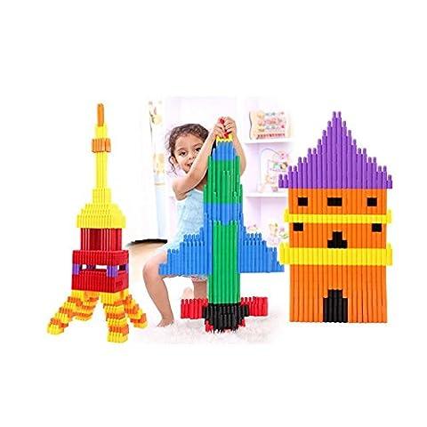 Onshine 132 Pièces Colorés Blocs de Construction en Enfants Jouets éducatifs En Plastique Bullet Plug Puzzle pour Bébé Fille Garçon Enfants