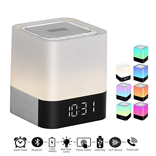 BDWN Nachtlicht Bluetooth-Lautsprecher Kinder, tragbare 48-LED-Farbe ändern drahtlose Lautsprecher Touch Control Nachttisch-Lampe, 12 / 24H-Digital-Wecker