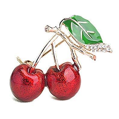 SODIAL Mode Doppel Kirsche Strass Brosche Pin Zweig Cerise Fruit Gruenes Blatt Abzeichen Schmuck Weihnachtsgeschenk Broschen Rosette Brosche
