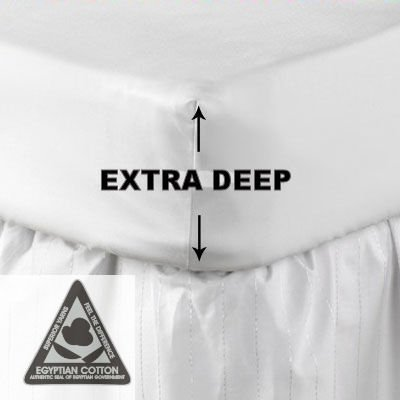 "16"" Extra Deep King Size SNOW Fitted Sheet In Egyptian Cotton ***Carefully Woven From Long Staples*** By Rejuvopedic ©"