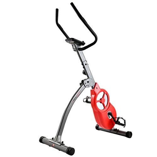 Ultrasport F-Bike 600 Pro Pedaltrainer, Hometrainer für Bein-und Bauchtraining, inklusive Handpuls-Sensor-Ergometer mit 3 Trainingsmodi und Multifunktionsdisplay, klappbar, Dunkelgrau Rot