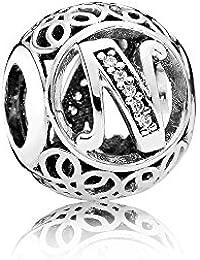 Charm en argent sterling 925 pour bracelets européens de type Pandora  Lettre de ... 2cab58b719a8