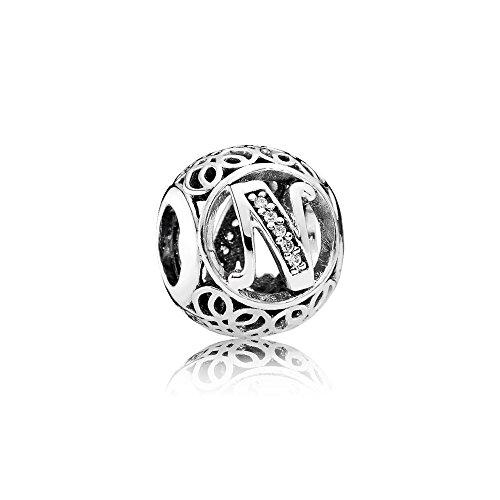Ciondolo con lettera in argento sterling 925, compatibile con braccialetti stile europeo tipo pandora, argento, cod. pas001