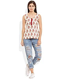 Very Me Women's Cotton Printed Short Top Size:- 32 / S (Red)