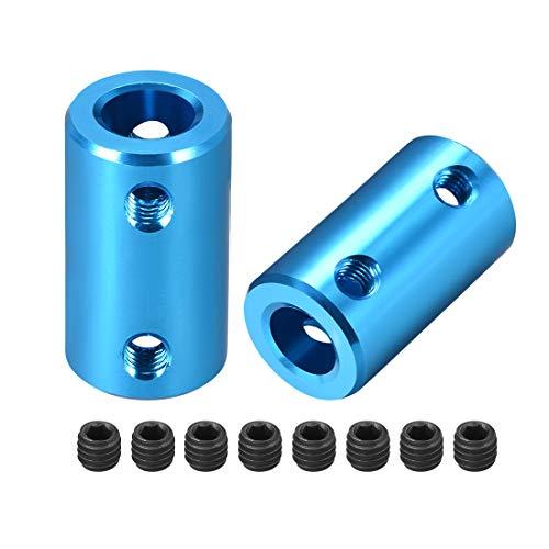 sourcing map 2stk. Schaft Kupplung Roboter Motor Rad Starre Koppler Blau 8mm zu 8mm L25xD14