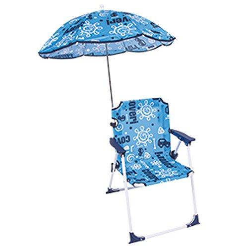 Bakaji sedia regista per bambini pieghevole mare con ombrellone baby per mare spiaggia piscina 37x25x52cm (blu)