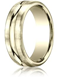 18ct Yellow Gold, 7.5mm Comfort Satin-Finished Polished Center Cut Band (sz H to Z5)