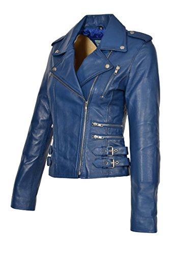 Damen Biker-Stil Lederjacke Mädchen Trendy Ausgestattet Mantel In Einer Reihe Von Farben - Ruby (Blau, L- EU 40) (Ausgestattet Leder Jacke)