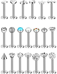 20 Pieces Stainless Steel Nose Studs Tragus Bars Labret Bars Crystal Ball Body Piercing Jewelry, 20 Styles, 16 Gauge