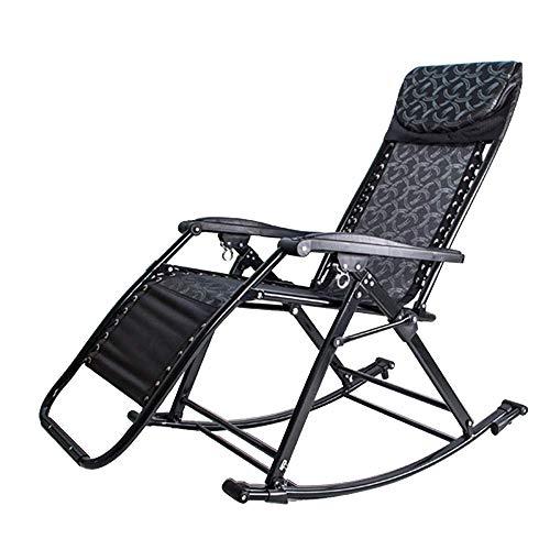 LVLUOYE Fauteuil Relax,Chaise à Bascule, 90-155 ° Retour Secouer réglable Le Sens de la Nature Fold Lounge Chair Adult Easy Chair Jardin extérieur Capacité de Transport: 330lbs (Couleur: B) -A