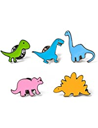 70e5f2424d761 Milnut 5PCS Alloy Enamel Brooch Pin Badges Cute Cartoon Dinosaur Series  Brooch Set Suit Shirt Sweater