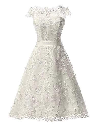 VKStar Damen Brautkleider Hochzeitskleider A-Linie Spitze Vintage Brautmode Festkleider Wadenlang...