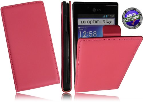 L7-box (Premium Slim Design Handytasche für LG P700 Optimus L7 FlipCase Schutzhülle mit intriegiertem Displayschutz Tasche Hülle Cover Flipstyle Klapptasche Vertikaltasche in Pink)