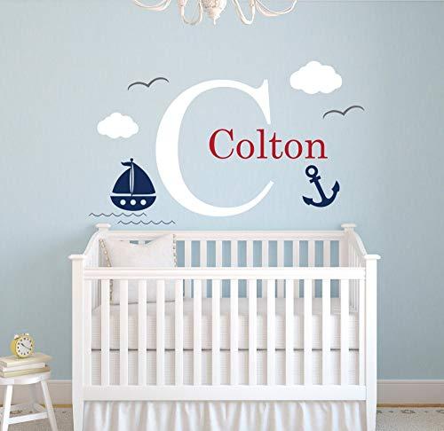 Baobaoshop Benutzerdefinierte nautischen Namen Wall Decal kleine Sailor Room Decor Baby Boys Schlafzimmer Kinderzimmer Wall Decal nautischen Thema Vinyl Tapete 102 * 56cm