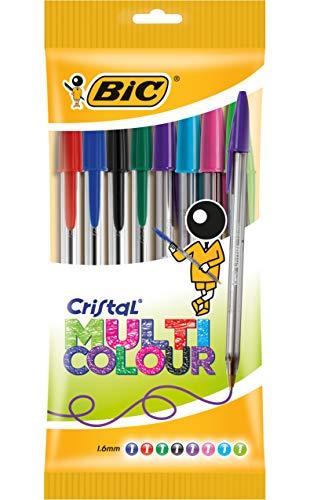 BIC Kugelschreiber Cristal Multicolor - Kugelschreiber Set mit 8 verschiedenen Farben für das Büro, die Schule & den Alltag - 1 Beutel mit 8 Stück