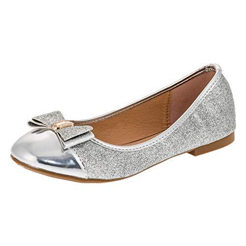Festliche Mädchen Ballerina Schuhe in vielen Farben für Party und Freizeit M283si Silber Gr.36 (Weiße Für Schuhe Jungen Kommunion)