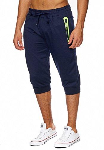 Herren Sweat-Shorts · (Comfort Fit) kurze GYM Fitness Freizeit Trainings Sweat Pant, Bermuda mit dehnbaren Bündchen am Beinabschluss - Neon Details · H1829 von Max Men (Kurzer Fit Comfort)