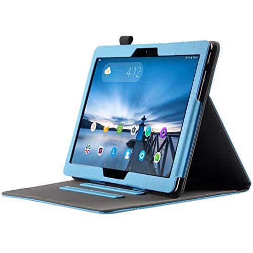 Lobwerk Tablet Hülle für Lenovo Tab M10 TB-X605F Tablet mit 10.1 Zoll Schutzhülle aus Kunstleder Flip Case Smart Cover Etui mit Halterung Hellblau