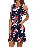 Dromild Damen Plissee Lose Kalte Schulter T-Shirt Kleid mit Taschen Rundhals Navy Flower M