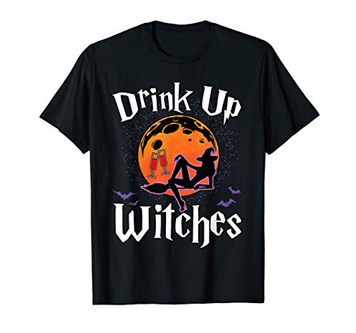 Drink Up Witches Halloween Cute Wine Party Graphic Costume T-Shirt
