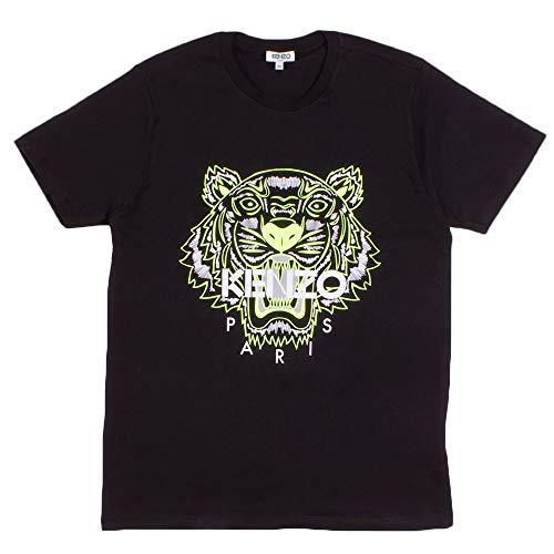 Kenzo T-Shirt pour Homme avec Logo imprimé Tigre, Noir Logo Jaune, 44