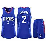 Disery Los Angeles Clippers Männer Jersey NBA Jersey # 2 Kawhi Leonard Breathable Gewebe Sleeveless Behälter Shorts Competition Kugel Suit Set (100~190CM),S150~154CM