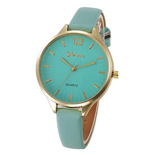 Armbanduhr, OVERMAL Frauen Damen Mode Leder Quarz Armbanduhr Uhr Für Mädchen (Grün) (Grüne Mädchen-uhr)