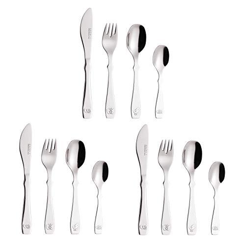 EXZACT Cubiertos para niños 12 piezas de acero inoxidable/utensilios para niños pequeños: 3 x tenedores, 3 x cuchillos de cena seguros, 3 x cucharas de cena, 3 x cucharas de té