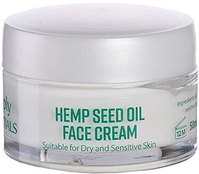 PREMIUM Hemp Seed Oil Face Cream with Hyaluronic Acid-Anti Wrinkle & Anti-Ageing Effect | Day & Night Skin Cream Vitamins A,B,C,D,E | Hydrating Antiseptic Moisturising Cream 100% Satisfaction in 50ml