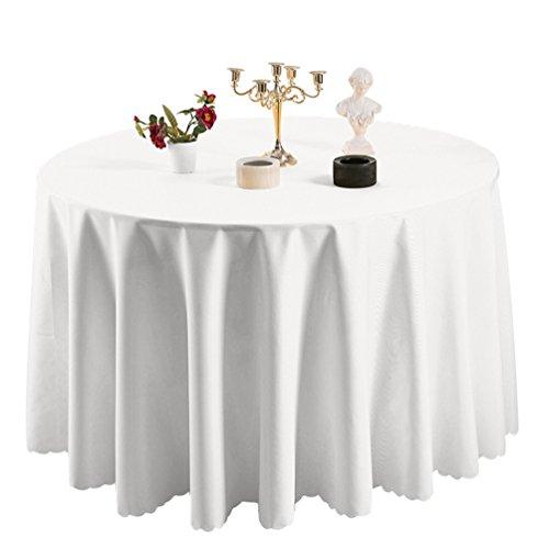 Heheja Nappe de Table Nappe Ronde pour Maison Restaurant Mariage Cérémonie Blanc 160cm