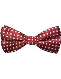 "Mens Polka Dot Spotty Satin Bow Tie up to 17"" (Burgundy)"