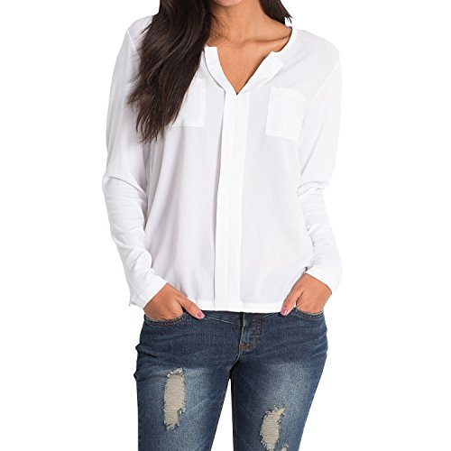 SUNNOW Elegante Damen Pullover V-Ausschnitt Langarm T-Shirt Loose Bluse (S, Weiß)