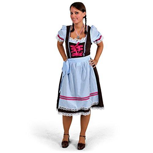 Trachten Dirndl, Kleid mit Schürze, für Oktoberfest o Karneval, mit Spitze, knielang - 40/42