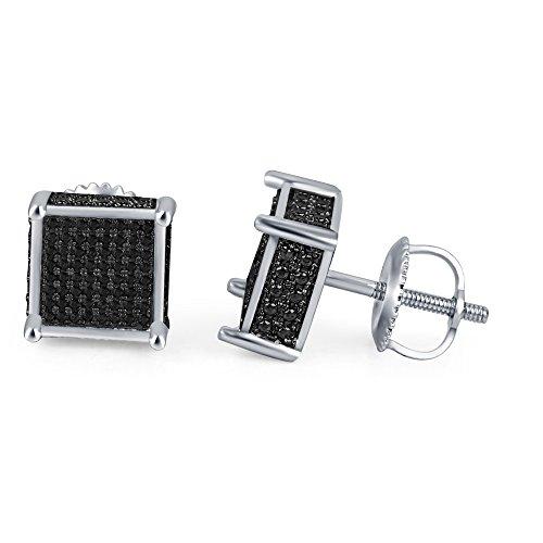lilu Bijoux Glamour Coupe Argent Massif 925en argent sterling boucles d'oreilles diamant de forme carrée à vis Noir White Platinum Plated