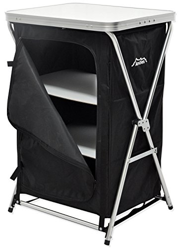 Andes Foldable 3 Shelf Camping Cabinet Tent Storage