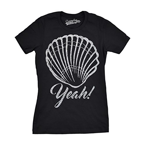 Crazy Dog Tshirts - Womens Shell Yeah Funny T Shirts Silver Glitter Print Cute Beach Summer T Shirt (Black) -XXL - Damen - XXL