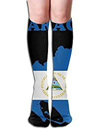 Best J Nicaragua Flag Womens Fashion Knee High Socks Casual Socks