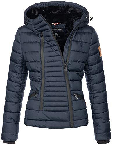 Navahoo Damen Designer Winter Jacke warme Winterjacke Steppjacke Teddyfell B656 [B656-Tabe-Navy-Gr.S]