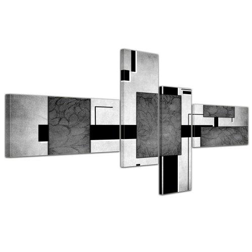 Cuadros en Lienzo - Arte abstracto Abstracto IV gris - 200x90cm 4 partes - Listo tensa. Made in Germany!!!