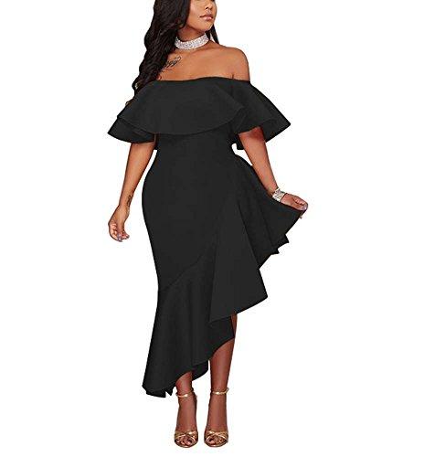 Frauen-reizvolles Kleid-elegantes ärmelloses Schulter-Abend-Kleid-Bankett-Kleid-unregelmäßige Rand-Kleid-Ein-Flansch Hals-Fresse