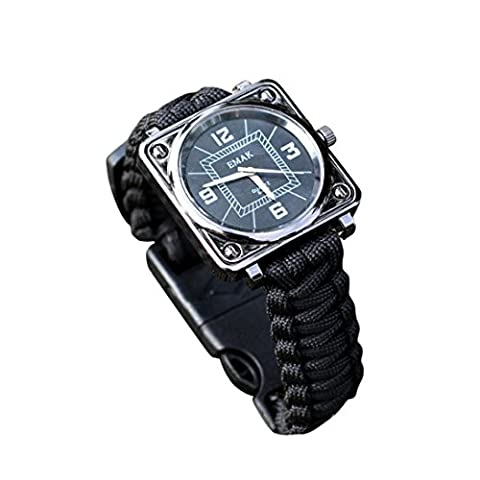 Gaddrt Kit de survie en plein air bracelet montres compas Flint sifflet Bushcraft Gear (Noir)