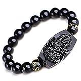TYGJB 10 mm Hohe Qualität Natürliche Schwarze Obsidian Geschnitzte Buddha Glück Amulett Runde Perlen Armband Für Frauen Männer Armband Schmuck
