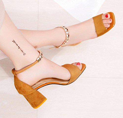 Sommer Sandalen dick mit offenem Zehen hochhackigen Schuhfrauensandelholze Wort Gurt Schuhe Yellow