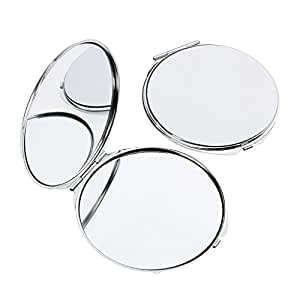 homyl 2er tragbarer taschenspiegel klappbar kosmetikspiegel runder spiegel f r reise unterwegs. Black Bedroom Furniture Sets. Home Design Ideas