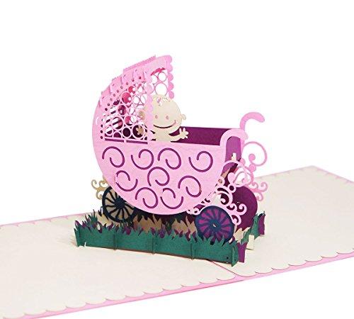Kinderwagen (Rosa) - Klappkarte / 3D Pop-Up Karte - Glückwunschkarte zur Geburt, Grußkarte mit Baby (Kinder Karten, Geschenke,)
