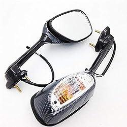 MUJUN Reserve LED-Blinker Lichtrückspiegel for 2006-2011 07 08 09 10 Suzuki GSXR GSXR 600 750 1000 K5 K6 K7 K9 Motorrad-Fahrrad (Color : Carbon)