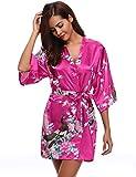 Aibrou Damen Morgenmantel Kimono Robe Bademantel Schlafanzug Nachtwäsche Kurz aus Satin mit Peacock und Blüten Rot L