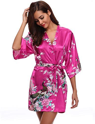 Aibrou Damen Morgenmantel Kimono Robe Bademantel Schlafanzug Nachtwäsche Kurz aus Satin mit Peacock und Blüten Rot L - Seide Kimono Frauen Roben Für Kurze