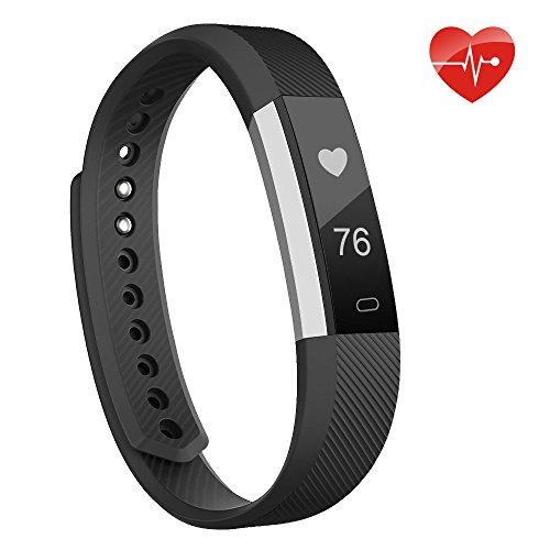moreFit Slim fitness tracker pulsmesser, Smart Uhr Fitness Armbanduhr Schlafüberwachung Aktivität Fitness Tracker Herzfrequenz,Schrittzähler Uhr für Damen,Herren Iphone6/Iphone7,Schwarz