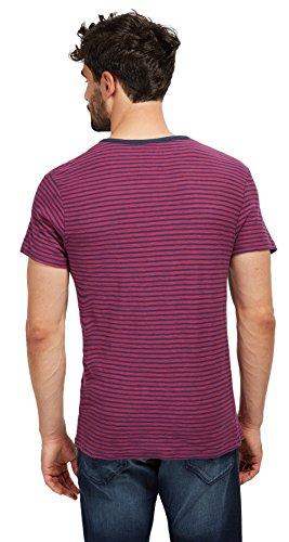 Tom Tailor für Männer T-Shirt gestreiftes T-Shirt mit Knopfleiste boysenberry pink